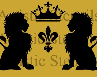 STENCIL Vintage French Lions Wreath with Crown 10 x6. 7