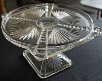 Circle in Square Antique Cut Glass Pedestal Cake Stand