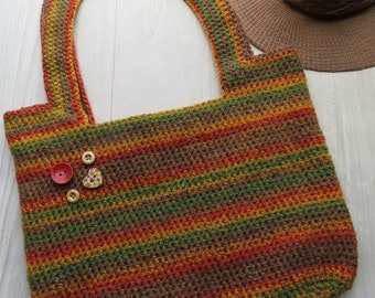 Beautiful colourful crochet tote bag