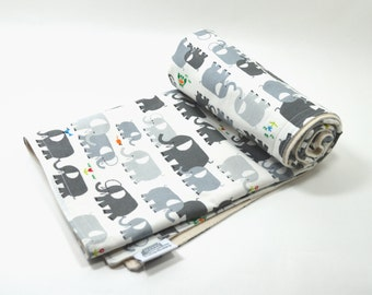 Organic Baby Blanket, Organic toddler, Elephant, Elephants on Parade, Gender Neutral, GOTS, Blanket, Baby, Organic cotton fleece, 2 sizes,