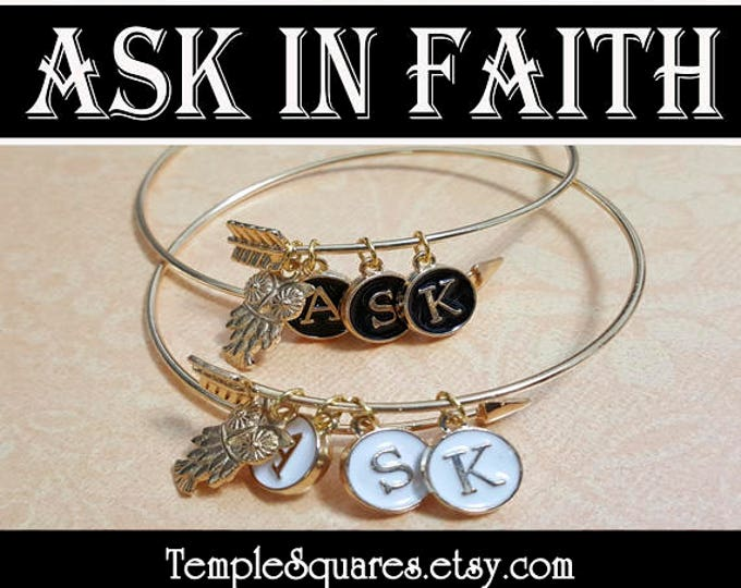 YW 2017 Ask of God Ask in Faith Charm Bracelets Young Women Theme Jewelry Charms Girls Camp, Graduation Gift, Birthday Gifts Typewriter Keys