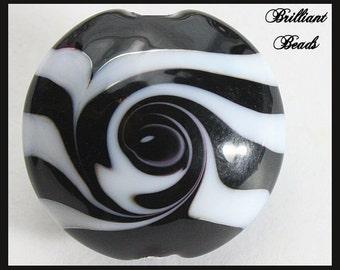 Black & White Zebra Swirls, Lentil Shaped Focal Glass Bead...Handmade Lampwork Bead SRA, Made To Order