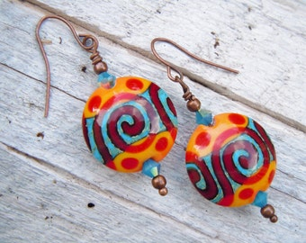 Lampwork Southwestern Style Copper Earrings