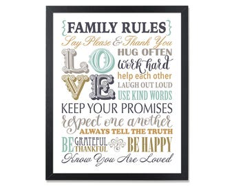 Printable Family Rules house rules Sign Family rules art poster Christian Housewarming Gift Instant Download Neutral colors home rules print