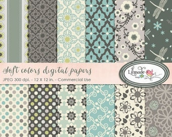 50%OFF Soft colors digital paper, floral digital paper for commercial use, scrapbook paper, vintage paper, P67