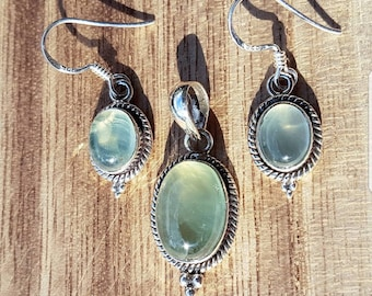 Jewelry set 925 solid sterling silver pendant with earrings Murano