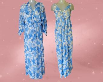 Peignoir Set Vintage Vera Luxury Lingerie, 60s Designer Sheer Nightgown, Floor Length Robe, Blue Daisy Lightweight Nylon, Womens Medium