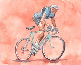 Fausto Coppi, Il Campionissimo - original watercolor painting
