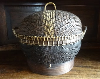 Vintage Oriental traditional woven rice basket storage decor cooking steaming circa 1970-80's / English Shop
