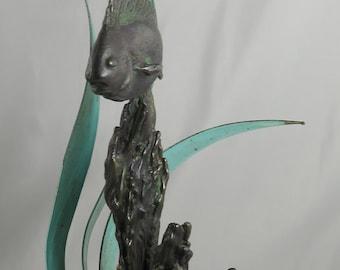 Beautiful Fish Sculpture Bronze Mid Century Modern. Wonderful Unique
