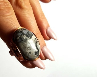 SALE Crazy Lace Agate Ring, Size 6, Ready to Ship, or Any Size, Made to Order, Black White Stone, Boho Ring, Copper Wrapped, Natural Stone R