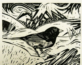 Dark-eyed Junco bird art block print