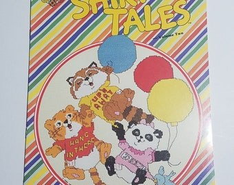 "Counted Cross Stitch Book ""Shirt Tales"" Halmark baby animals 1980's New"