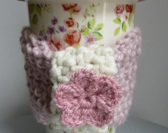 Floral ceramic travel mug with pure wool pink cozie