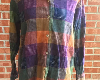 Vintage 90s Blair colored checkered shirt  size L