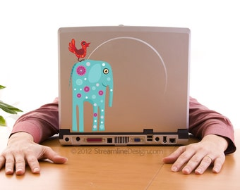 Big Blue Elephant Laptop Decal | whimsical elephant sticker laptop decal macbook decal car decal elephant decal elephants elephant decor