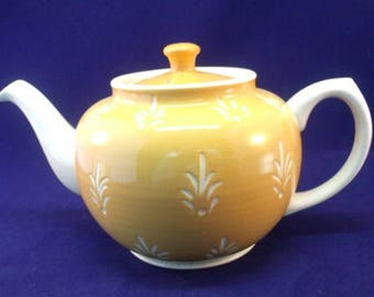 Sadler English China Teapot, Yellow and White