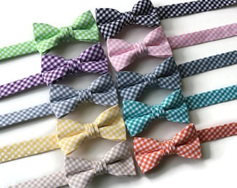 Boys Gingham Bow Tie~Boys Bow Tie~Coral Bow Tie~Mint Bow Tie~Red Bow Tie~Fog Bow Tie~Gray Bow Tie~Cotton~Gingham~Jade Tie~Seafoam~Yellow