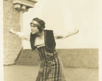 vintage photo 1914 Woman Flying Arms Wing Span Costume on Roof
