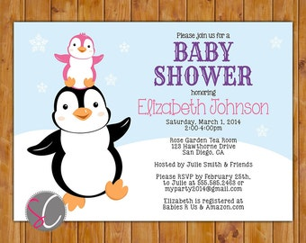 Penguin Baby Shower Invite Stacked Penguins Winter It's a Girl Pink Purple Baby Invitation 5x7 Digital Invite (355)