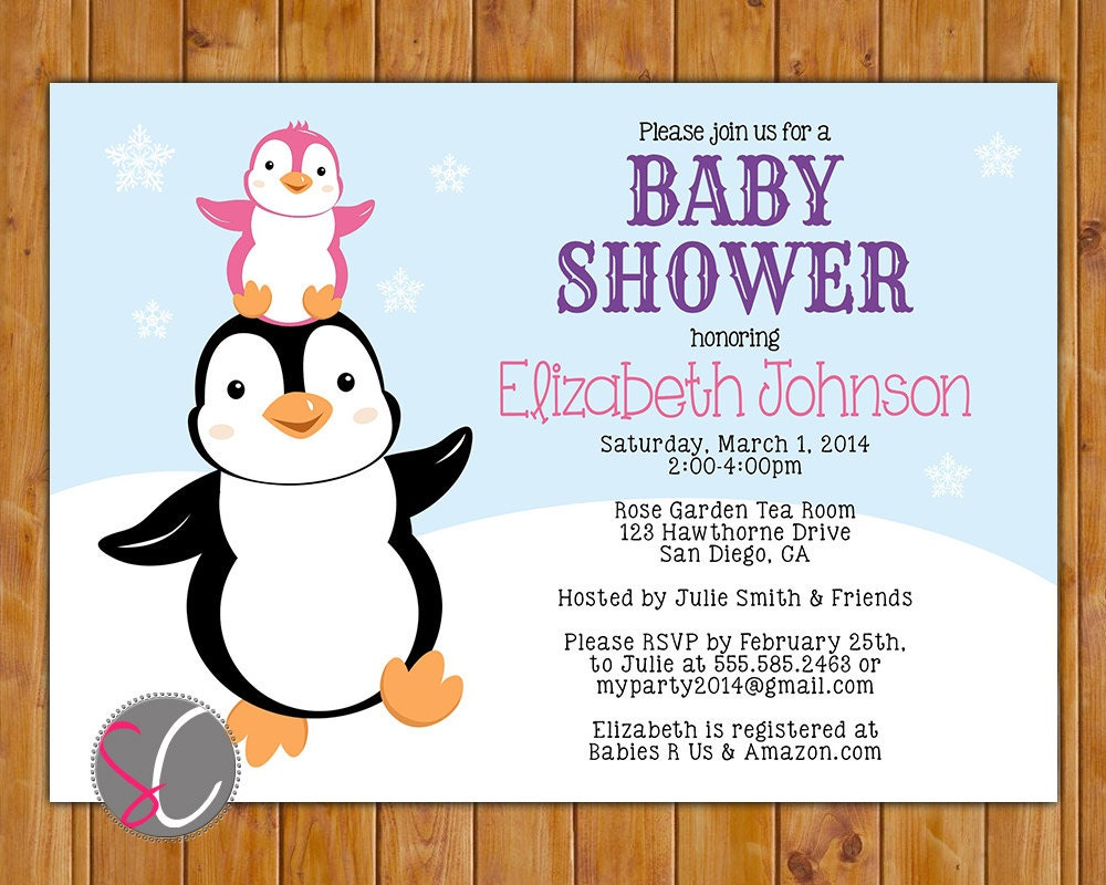 Penguin Baby Shower Invite Stacked Penguins Winter It\'s a