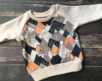 Organic Sweatshirt - Scandinavian Mountain - natural baby clothes, fall toddler outfit, woodland baby clothes, baby fall outfit, tribal baby