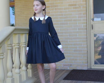 Wednesday Addams Costume Dress, Girls