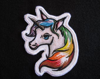 Embroidered Unicorn Iron On Patch, Colorful Unicorn Patch, Iron On Unicorn Applique Patch, Unicorn Patch, Unicon