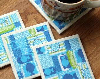 Fish Coasters - Turtle Coasters - Drink Coasters - Tile Coasters - Ceramic Coasters - Beach Coasters - Ceramic Tile Coasters - Coaster Set
