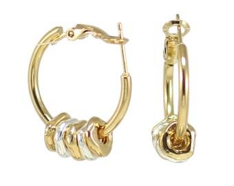 Gold Earrings, Gold Hoop Earrings, Gold Silver Earrings, Hoop Earrings, Everyday Earrings, Silver Gold Earrings, Two tone earrings