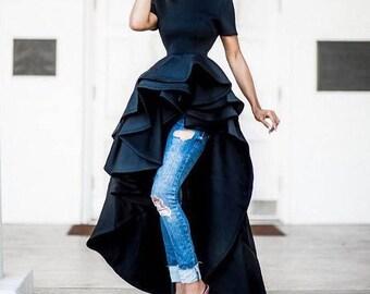 Black jersey dress / Cascading double peplum top / Peplum blouse with tail / High low peplum top