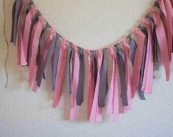 Wedding Garland, rag tie banner, Grey and Pink Rag Tie Banner Garland Gray and PInk Garland (Custom orders welcomed)