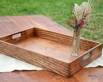FREE SHIPPING - Rustic Solid Wood Tray Farmhouse Breakfast Ottoman Serving Coffee Table Tray