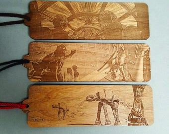 Star Wars Scene Bookmark with Tassel - Laser Engraved Wood - Battle of Hoth Hyperdrive Luke Darth Vader