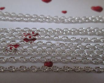 chain carved 3 x 2 mm silver metal mesh sold by the yard
