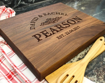 "15x12"" Personalized Chopping Block - Engraved Edge Grain, Custom Butcher Block, Housewarming, Wedding, Engagement, Hostess Gift (021)"
