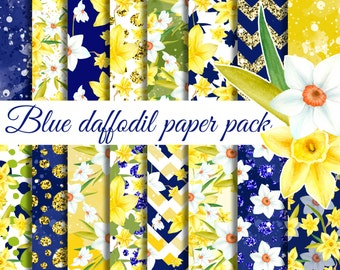 Daffodil digital paper, Glitter flower seamless patterns, Blue & yellow paper pack, Watercolor floral papers, Scrapbook papers, Printable