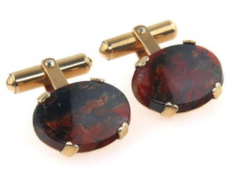 Moss Agate Gold Filled Cufflinks by Destino Vintage 1960s