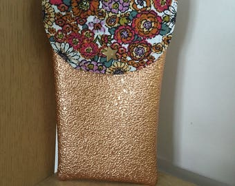 Large cell phone pouch size printed floral