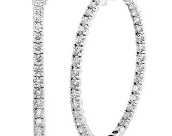 "8.00CT 2"" Diamond Inside Outside Hoops 14k White Gold (G, VS)"