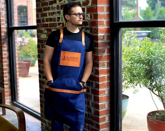Blue Waxed Canvas Apron, Leather and Canvas Apron, Custom Men's Apron with Engraving