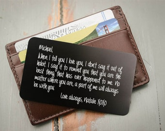 Engraved Wallet Card, Personalized Wallet Card, Custom Wallet Insert: Valentine's Gift for Him, Anniversary, Wedding Vows, Stocking Stuffer