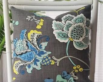 Richloom Leopold Large Jacobean Gray Aqua Chartreuse Citrine Floral Pillow Cover