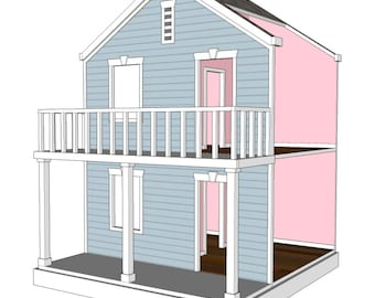 doll house plans for american girl or 18 inch dolls 4 room side play - How To Make A American Girl Room