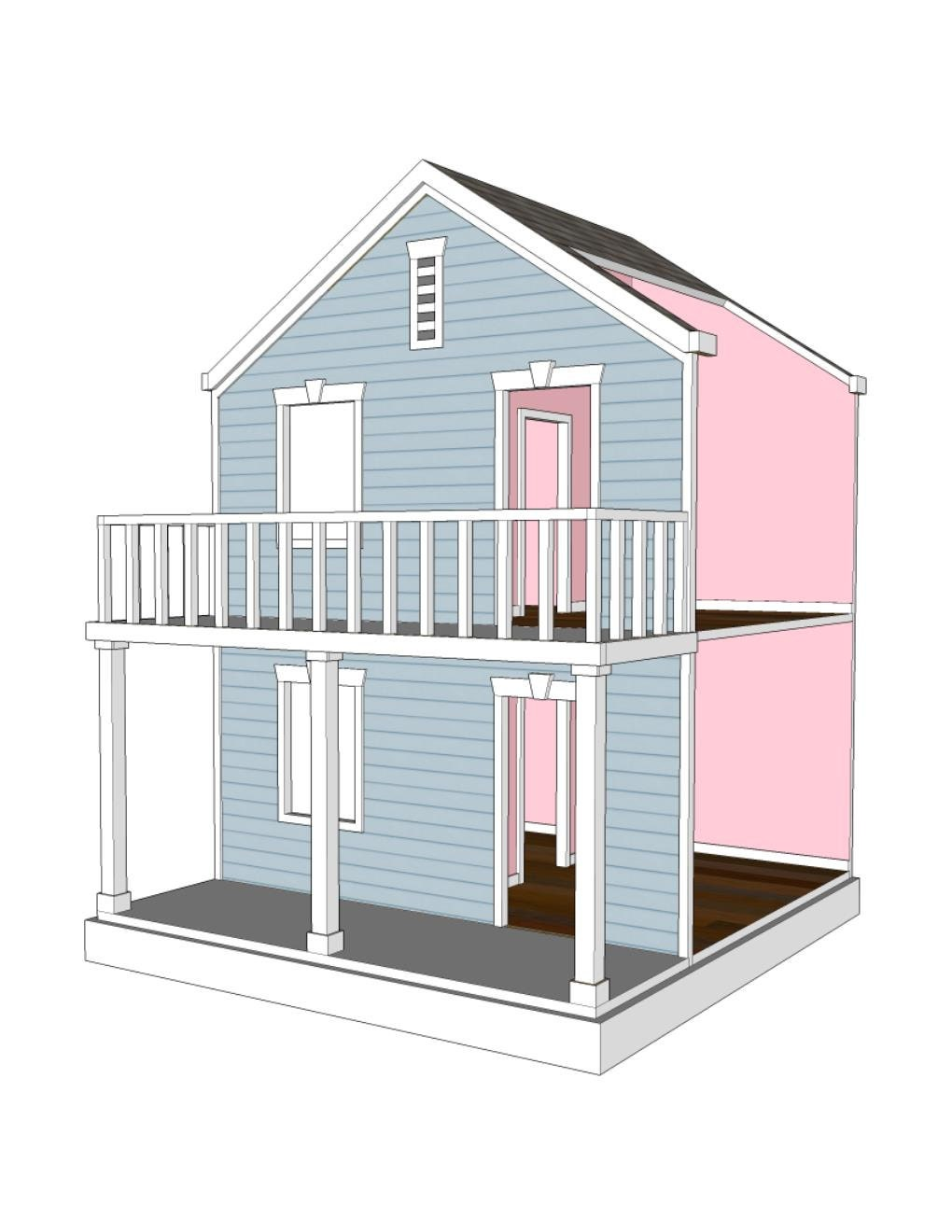 Doll house plans for american girl or 18 inch dolls 4 room for Dollhouse building plans free