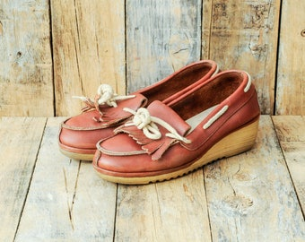 us 7 wedge shoe uk 5 wedge shoe 37 wedge shoe 37 wedge slip on uk 5 wedge slip on wedge slip ons retro wedge slip on cognac wedge shoe