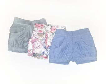 Bubble shorts, little girls shorts, toddler shorts, pleated shorts, vintage inspired shorts
