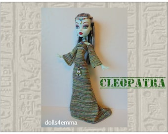 "Monster High 17"" Doll Clothes - CLEOPATRA Egypt Gown, Goddess Belt, Headdress & Necklace - Handmade custom Egyptian fashion by dolls4emma"