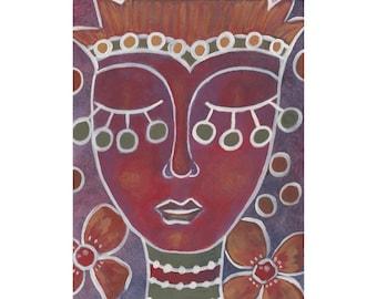 whimsical modern art print portrait art colorful print whimsical painting whimsical decor folk art painting folk art prints girl painting
