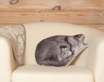 Adorable Gray Cat Pillow, cat lover gifts, gift for her, gift for mom, mom gifts , plush cat, cat gifts, cat cushion, mom gifts, cat decor